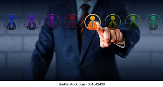 Manager is selecting one virtual worker in a lineup of eight differently colored male employee icons. Concept for multiculturalism, equal opportunity employment and a business case for diversity.