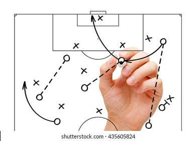 Manager sketching a football game strategy with marker on transparent wipe board. Soccer coach explaining play tactics.