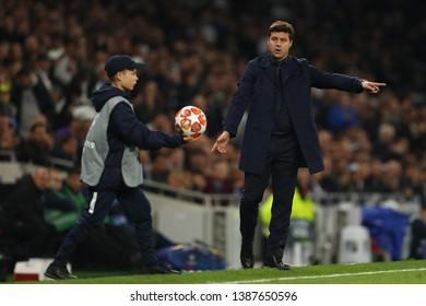 Manager of Tottenham Hotspur, Mauricio Pochettino instructs a ballboy - Tottenham Hotspur v Ajax, UEFA Champions League Semi Final - 1st Leg, Tottenham Hotspur Stadium, London - 30th April 2019