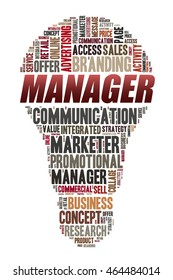 MANAGER word on word cloud concept with bulb shape