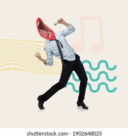 Manager's dreams. Office man headed by big female singing mouth. Copyspace. Modern design. Contemporary art. Creative conceptual and colorful collage surrealism style. Waved geometry background
