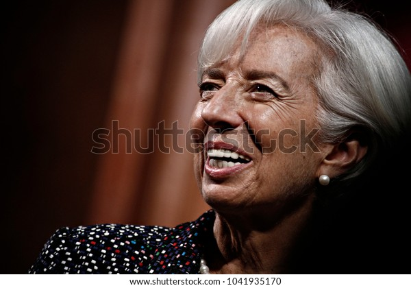 Managing director of the IMF Christine Lagarde, gives a talk about the global outlook and policy priorities ahead of the upcoming 2017 IMF spring meetings in Brussels, Belgium  on Apr. 12, 2017.