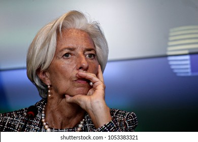 Managing Director of the IMF,Christine Lagarde gives a press conference at the end of Eurogroup finance ministers meeting at the EU headquarters in Luxembourg on Jun.15,2017