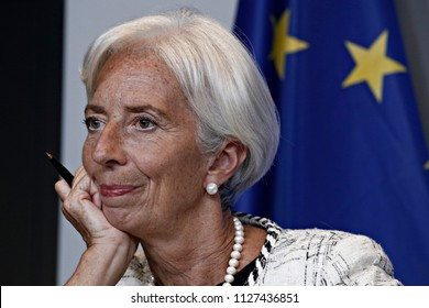 Managing Director of the IMF,Christine Lagarde gives a press conference at the end of Eurogroup finance ministers meeting at the EU headquarters in Luxembourg on June 21, 2018