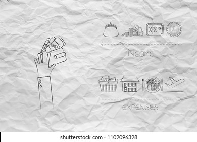 managing your budget conceptual illustration: hand holding wallet next to income icons versus expenses below