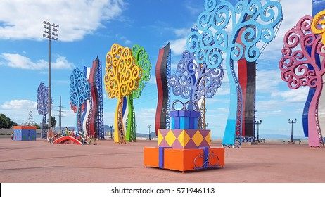 Managua, Nicaragua - December 30, 2016:The Decoration along the road of central Managua ,preparing for  Christmas and New Year celebration.