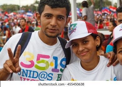 Managua, Nicaragua July 19, 2016: People on street commemorating the 37th anniversary of victory of sandinist revolution