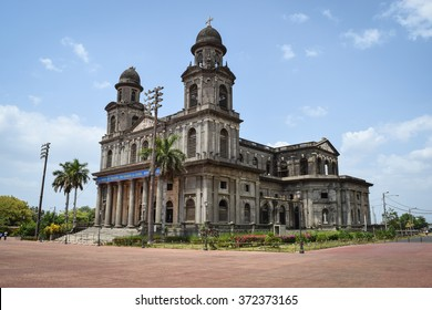 Managua, Nicaragua, May 8, 2015: The Old Cathedral of Managua was partially destroyed by an earthquake in 1972. It�s remains still stand in Revolution Square. General travel imagery for Nicaragua.