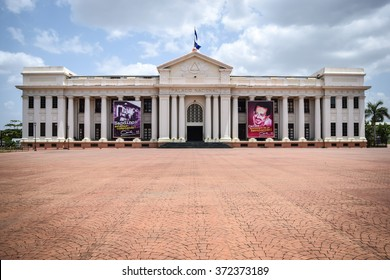 Managua, Nicaragua, May 8, 2015: The National Palace of Nicaragua occupies the southern edge of Revolution Square in the capital, Managua. General travel imagery for Nicaragua.