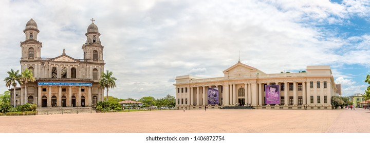 MANAGUA,NICARAGUA - MARCH 15,2019 - Panoramic view at the Old Santiago Cathedral and Palace National of Culture in Managua. Managua is capital of Nicaragua.