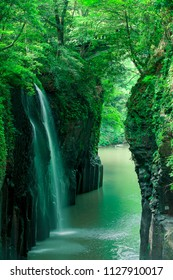 Manai Waterfall  is Japan's Top 100 Waterfalls. Covered with spring green. (Takachiho Gorge in Miyazaki Prefecture , Slow shutter )