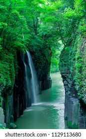 Manai Waterfall  is Japan's Top 100 Waterfalls. Covered with spring green. (Takachiho Gorge in Miyazaki Prefecture , distant view )