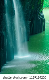 Manai Waterfall  is Japan's Top 100 Waterfalls. Covered with spring green. (Takachiho Gorge in Miyazaki Prefecture , Under the waterfall )