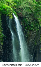 Manai Waterfall  is Japan's Top 100 Waterfalls. Covered with spring green. (Takachiho Gorge in Miyazaki Prefecture , The top of the waterfall )