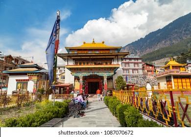Manali, Himachal Pradesh, India - March 4, 2016 : Tibetan monastery in Manali Town, Himachal Pradesh, India