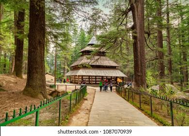 Manali, Himachal Pradesh, India - March 4, 2016 : Beautiful wooden temple of Hidimba at Manali.