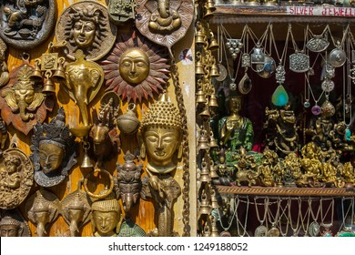 Manali, India - May 26, 2017: Traditional souvenirs and silver jewelleries indian shop