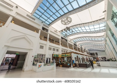 MANAMA, BAHRAIN - 16 JANUARY, 2016: Interior wide-angle view of the modern extension to Bab al Bahrain, the Manama souk, or market, looking up at the curved steel and glass roof.