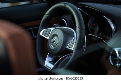 Manama, Bahrain - April 09, 2018: Cockpit of Mercedez Benz AMG GT C Roadster.