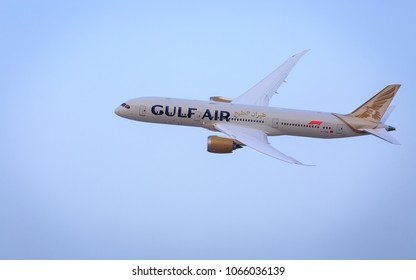 Manama, Bahrain - April 09, 2018 : Gulf Air's first Boeing 787-9 Dreamliner taking flypast at 2018 Bahrain F1 Grand Prix.
