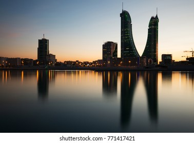 MANAMA , BAHRAIN - DECEMBER 06: Bahrain Financial Harbour building at night, one of tallest twin towers in Manama, Bahrain on December 06, 2017