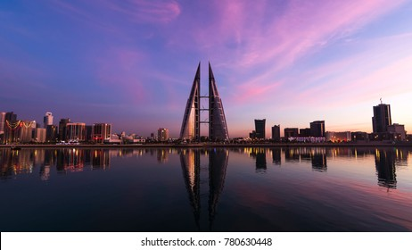 MANAMA, BAHRAIN - December 14, 2017: A beautiful view of iconic building World Trade Center at sunset in seafront from Manama, Bahrain.