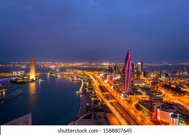Manama, Bahrain - December 15, 2019: Areal View of beautiful Bahrain skyline after dusk