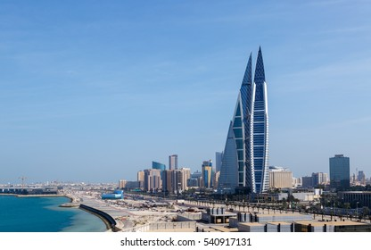 MANAMA, BAHRAIN - DECEMBER 17, 2016: A view of Iconic building Bahrain World Trade Center in seafront from Manama, Bahrain.