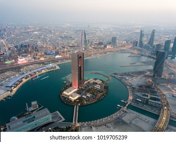 Manama, Bahrain - December 18 2017: Aerial View of Bahrain Bay during the National Day Celebration