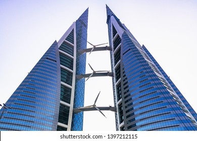 MANAMA, Bahrain - December 19, 2018: skyscraper building of the Bahrain World Trade Center in the downtown