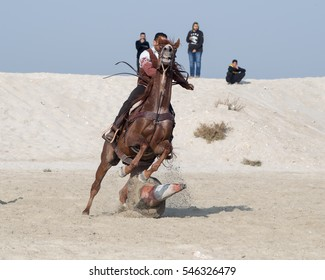 Manama, Bahrain - December 23, 2016: Cowboy show in a beach side - Bahrain