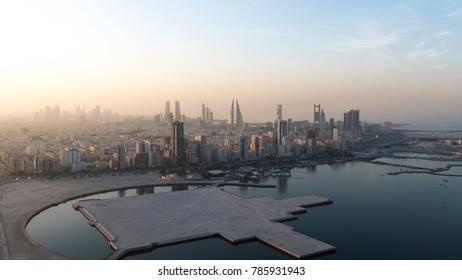 MANAMA, BAHRAIN- December 23: Manama - Areal view of Bahrain World Trade Center and other high rise buildings in Manama City on December 23, 2017, Manama, Bahrain