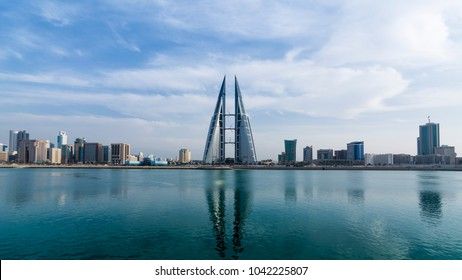 MANAMA, BAHRAIN- December 23: Manama - View of Bahrain World Trade Center and other high rise buildings in Manama City on December 23, 2017, Manama, Bahrain