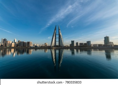 MANAMA, BAHRAIN- December- 23: Manama - View of Bahrain World Trade Center and other high rise buildings in Manama City on December 23, 2017, Manama, Bahrain