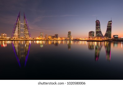 MANAMA, BAHRAIN - FEBRUARY 05: Bahrain skyline with iconic buildings, the Bahrain World Trade Center and the Financial hourbour during night on February 05, 2018, Manama, Bahrain