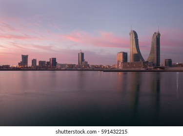 MANAMA , BAHRAIN - FEBRUARY 08: Bahrain Financial Harbour building during sunset, one of tall twin towers in Manama, Bahrain on February 08, 2017