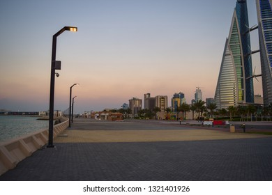 Manama, Bahrain - February 11 2019: Bahrain World Trade Center (Bahrain WTC or BWTC). Twin tower complex