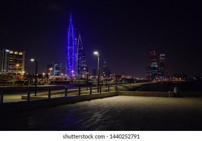 Manama, Bahrain - February 12 2019: Night city of Manama. Embankment