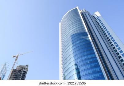 Manama, Bahrain - February 13 2019: Manama city diplomatic area. Streets and buildings. Kingdom of Bahrain