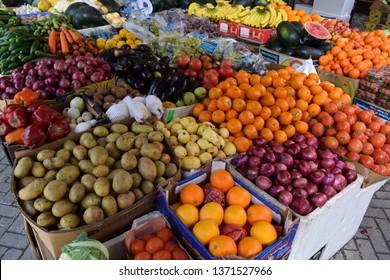 Manama, Bahrain - February 16 2019: Vegetable and fruit market in Manama city
