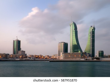 MANAMA , BAHRAIN - February 18: Bahrain Financial Harbour building during sunrise, one of tall twin towers in Manama, Bahrain on December 18,  2016