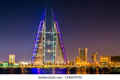 Manama, Bahrain - February 2, 2018: Bahrain World Trade Center, the first skyscraper in the world that integrates wind turbines into its design