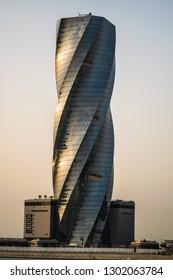 MANAMA, BAHRAIN- February 2, 2019: Manama - View of United tower in Bahrain Bay at Manama City on February 2, 2019, Manama, Bahrain - Image