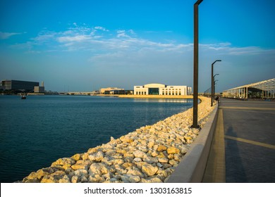 Manama, Bahrain - February 3, 2019: Landscape view of The Avenue mall Bahrain and the walking way around. Avenue mall is one of the largest mall in the kingdom. The mall inaugurated on October 2018.