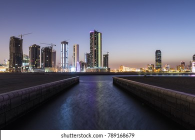 MANAMA, BAHRAIN - January 04 : View of highly illuminated high raise buildings of Seef district on January 04, 2018