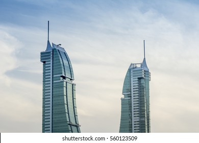 MANAMA , BAHRAIN - January 13: Bahrain Financial Harbour buildings in day light , tallest twin towers in Manama, Bahrain on January 13, 2017