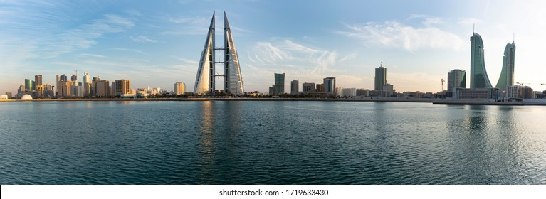 MANAMA , BAHRAIN - JANUARY 18: Bahrain skyline with iconic buildings, the Bahrain Financial Harbour and World trade center  during sunset, January 18, 2020.