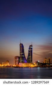 Manama, Bahrain - January, 2019: Tallest building in Bahrain, Bahrain Financial Harbour at night, Manama, Bahrain.