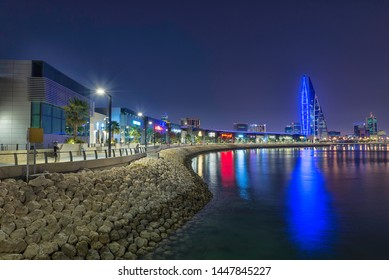 MANAMA, BAHRAIN - JULY 11: A beautiful night view of Manama cityscape from The Avenues Bahrain in  Manama, Bahrain. July 11, 2019 , Kingdom of Bahrain