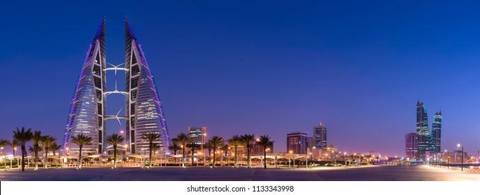 Manama, Bahrain – July 11th 2018 – Night View of Manama along The Avenues in Manama, Kingdom of Bahrain.